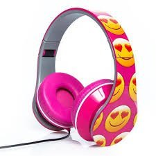 Smiley Print Over the Ear Foldable Headphone (PINK)