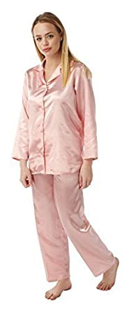 Ladies Satin Silk Pyjama Set Long Sleeve Silky Summer Pjs (12-14 ... 124db5f69