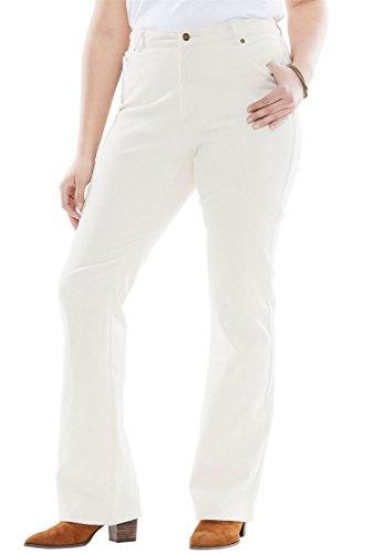 Ivory Corduroy (Woman Within Women's Plus Size Bootcut Stretch Corduroy Jeans Ivory,24 W)