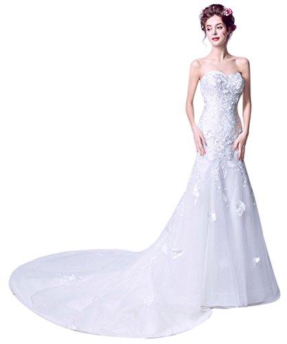 White Long Train Custom Women's Gowns Wedding Size Sweetheart BessWedding Strapless qanzAnx