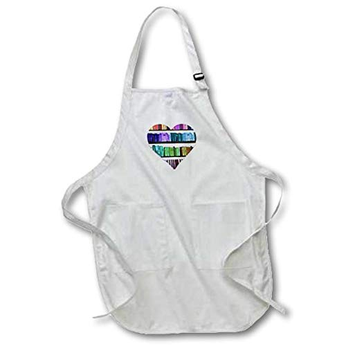 3dRose apr/_184865/_1 I Heart Books-Love Heart Shape Containing Colorful Rainbow Bookshelf-Full Length White Apron with Pockets 22 by 30-Inch