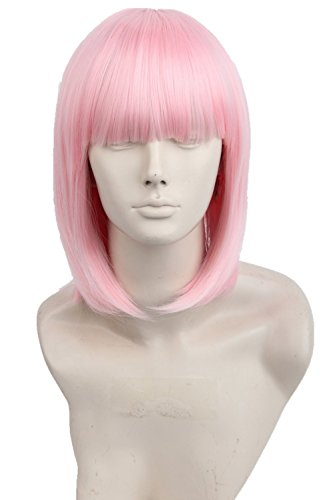 Womens Wig Fiber Straight Short Bob Cosplay Wig With Bangs Halloween Party Hair Pink (Adult Short Pink Wig)