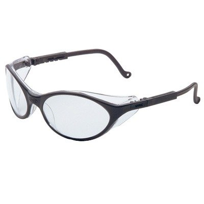 Uvex S1600 Bandit Safety Glass Black Frame Clear Lens Coated Espresso Lens