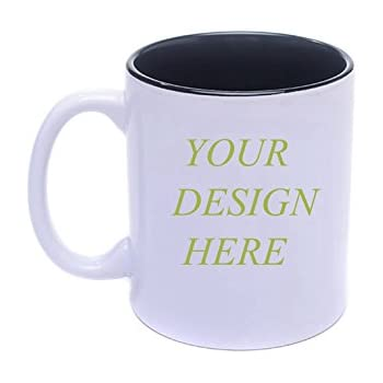 Diy Personalized Coffee Mug Add pictures, logo, or text to Custom Mugs Cups For Gift (Black White)
