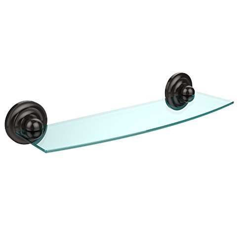 Allied Brass PQN-33/18-ORB Prestige Que New Collection 18 Inch Glass Shelf Oil Rubbed Bronze