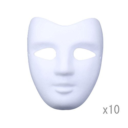 DIY White Paper Mask Pulp Blank Hand Painted Mask Personality Creative Free Design Mask 10pcs (V face) ()