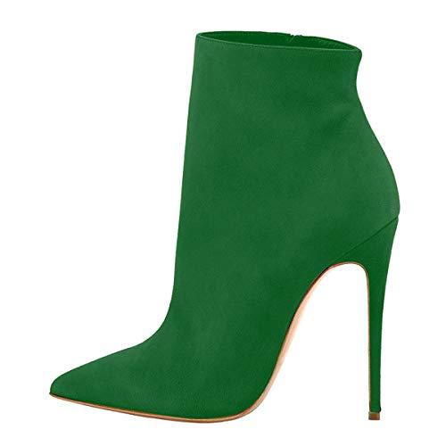 Suede Donna Con Stivaletti Classiche Verde Tacco Elegante 120mm Elashe Inverno Blocco Alto Tacco qEzx51d1w