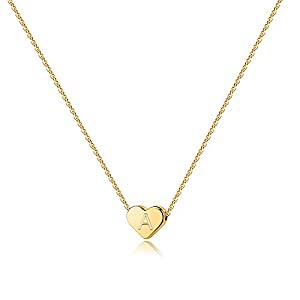 Heart Initial Necklaces for Women Girls – 14K Gold Filled Heart Pendant Letter Alphabet Necklace, Tiny Initial Necklaces for Women Kids Child, Heart Letter Initial Necklace Gifts for Girls Teens