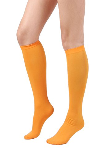 (Women's Semi Opaque Knee High Trouser Sock 3pair / 6pair (One Size : XS to M, 3pair-Orange))