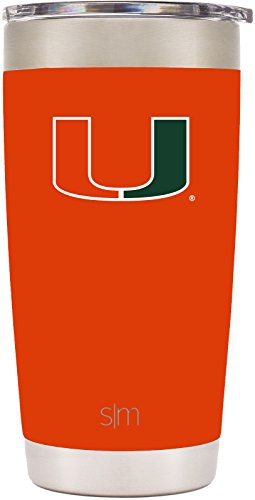 Simple Modern 20oz Cruiser Tumbler - Miami Hurricanes Vacuum Insulated 18/8 Stainless Steel Tailgating Cup Travel Mug - (Miami Hurricanes Travel Tumbler)
