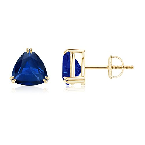 Classic 4mm Solitaire Trillion Cut Sapphire Stud Earrings in 14K Yellow Gold