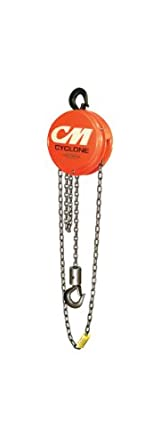 CM 4724 Aluminum Cyclone Hand Chain Hoist with Hook Mounted, 2000 lbs Capacity, 15' Lift Height