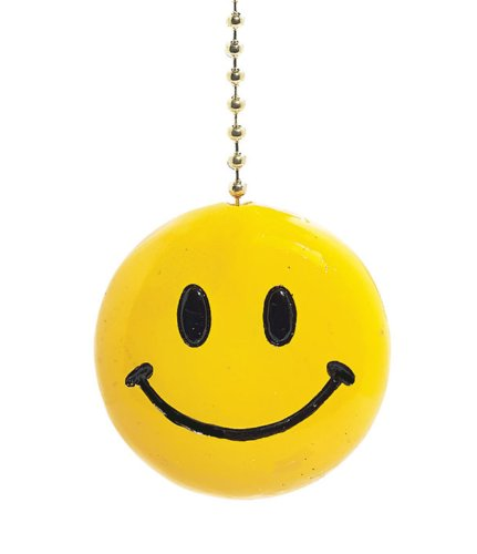 Yellow Happy Smiley Face Fan Pull Decorative Light Chain by Clementine Design]()