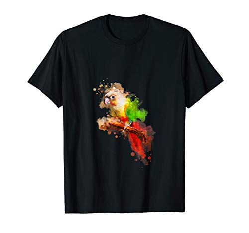 Watercolor Pineapple Green Cheek Conure parrot T-Shirt