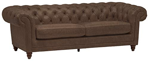 Stone & Beam Bradbury Chesterfield Tufted Leather Sofa Couch, 92.9