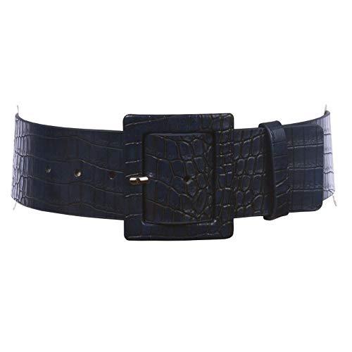 "2 1/4"" Wide Ladies High Waist Croco Print Patent Leather Fashion Belt, Navy | L/XL - 40"
