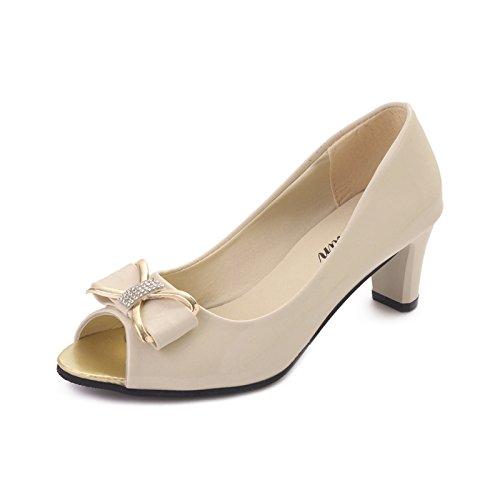 ZHZNVX En el verano el nuevo alto talón boca de pescado solo zapatos de cuero pintadas de la boca superficial zapatos de mujer casual Pajarita zapatos de mujer Beige
