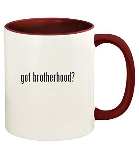 got brotherhood? - 11oz Ceramic Colored Handle and Inside Coffee Mug Cup, Maroon