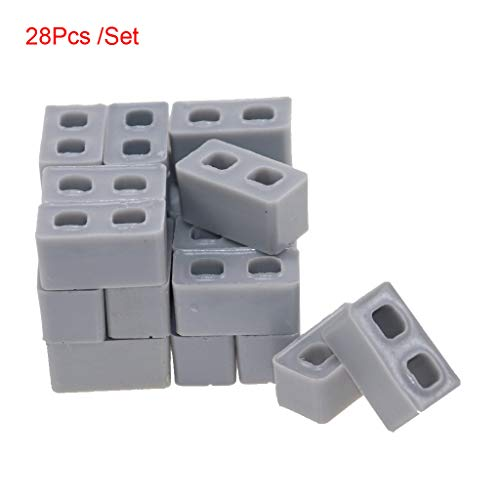 Huaze 28pcs Mini Cement Bricks Mortar - Let You Build Your Own Tiny Wall Mini - Ideal for Creators of All Ages - Brick Separator Included (Gray)