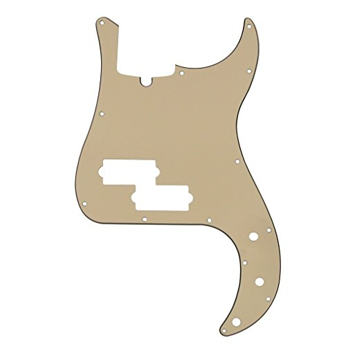 IKN 3Ply P Bass Pickguard for Standard Precision Style Bass, 13 Hole, Cream Color, with Screws