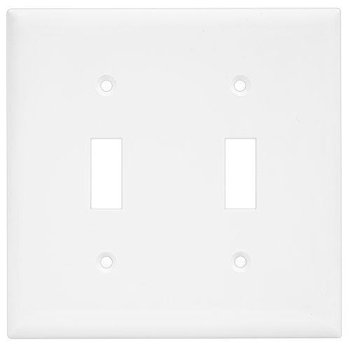 Kitchen light switch covers amazon enerlites 8812 w toggle switch wall plate light switch cover 2 gang standard size unbreakable polycarbonate white replacement faceplate workwithnaturefo