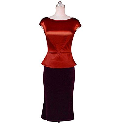 Wenseny Mujer FTD Manga Larga El Vestido Del Lápiz Vestido Maxi Fishtail Vestido De Noche Rojo