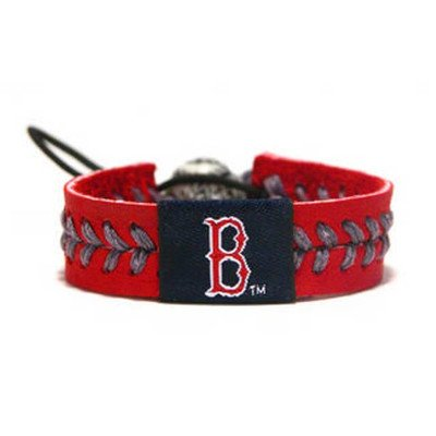 MLB Leather Wrist Band MLB Team: Boston Red Sox, Style: Team Colors