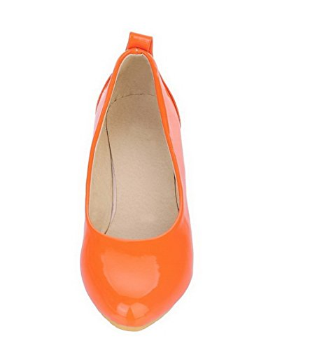 Toe Heels Women's Shoes Pumps Solid Pull Pu WeenFashion Orange Round On Low 7f4AHqw