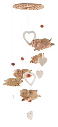 Clay Motif - Clay Motif When Pigs Fly with Hearts Valentine Wind Chimes Garden Decor