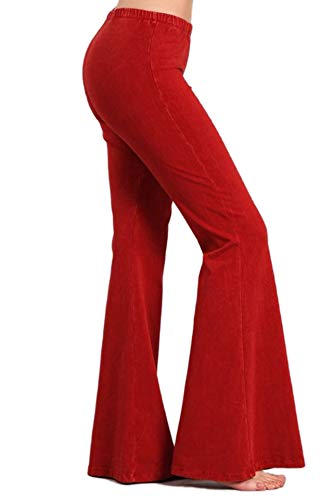 Zoozie LA Women's Bell Bottoms Yoga Stretch Pants High Waist Tie Dye Red -
