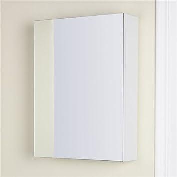 Angelina White Gloss Slimline Mirrored Bathroom Cabinet 450mm 450 X 600 120mm