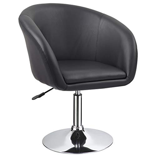 Duhome Jumbo Size Luxury PU Leather Contemporary Round Swivel Accent Chair Tufted Adjustable Lounge Pub Bar (Black) (Black Swivel Chair Club)