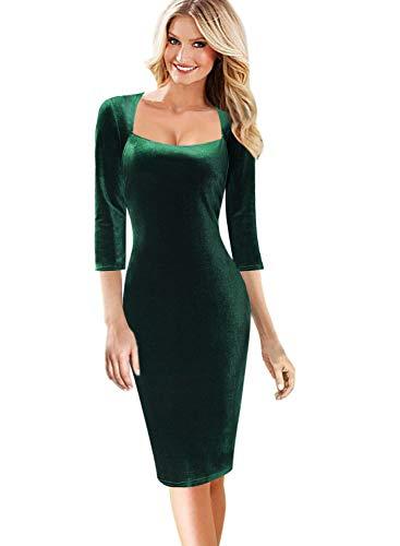 VFSHOW Womens Elegant Velvet Square Neck Slim Cocktail Party Bodycon Dress 1072 GRN - Cocktail Velvet
