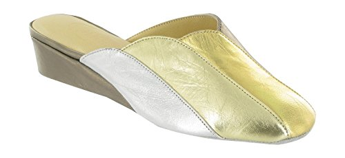 Cincasa Menorca Madeira Ladies Leather Two Tone Slippers Pewter/Gold/Platinum Pewter HtRkh7vrP3