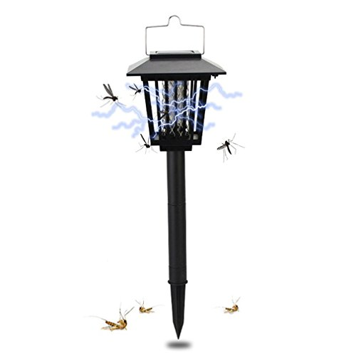 Jiistar Solar Insect Zapper, LED Mosquito Bug killer - Insect Bug Worm Zapper- Cordless Garden Lamp - Hang or Stake in the Ground - Best Stinger for Mosquitoes/Moths/Flies