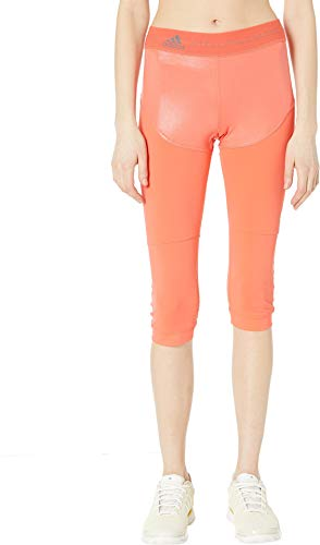 adidas by Stella McCartney Women's Run 3/4 Leggings, Hot Coral, Orange, X-Small