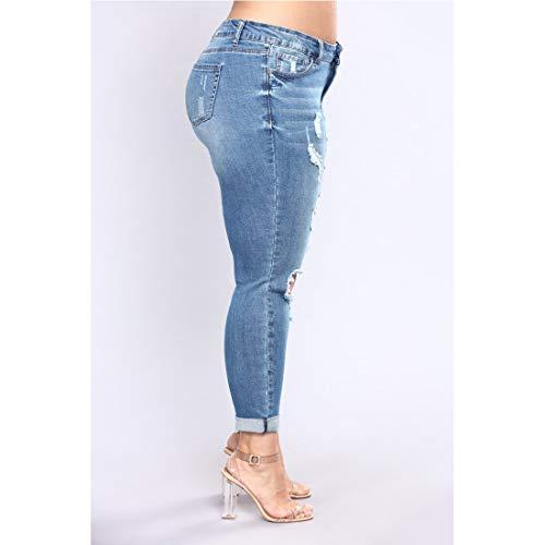 Skinny Pantaloni 4 Strappati Style Lunghi 7xl Jeans Aderenti Size Vita 4 Junfelicia Media Donna color A 51dfq5w