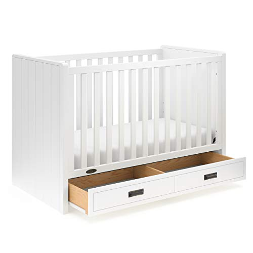 Graco Cottage 3-in-1 Convertible Crib with Drawer (White) - Easily Converts to Toddler Bed and Daybed, 3-Position Adjustable Mattress Support Base, Space-Saving Storage Drawer, Large ()