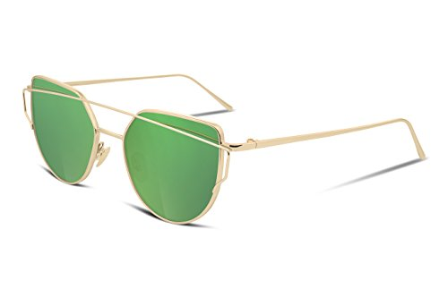 FEISEDY Cat Eye Mirrored Flat Lenses Metal Frame Women Sunglasses UV400 - Sunglasses Green Lense