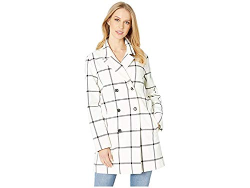 cupcakes and cashmere Women's Aletta Plaid Double Breasted Coat, Ivory, Extra Small