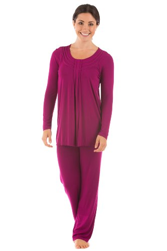 (Women's Long Sleeve PJs in Bamboo Viscose (Replenish, Boysenberry, X-Small) for Wife WB0006-BYB-XS)