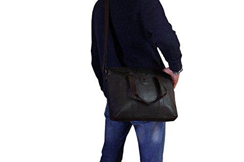 FERETI bolso mensagero grande de cuero y fibra de carbono para ordenador portatil Marrón