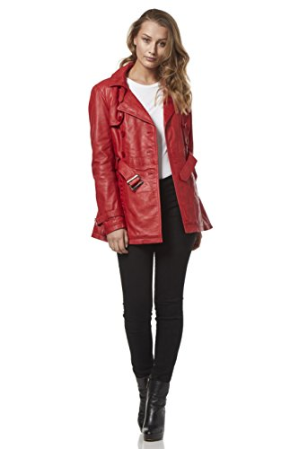 Trench 'Ladies lujo Chaqueta clásica estilo Leather Real de roja clásico BBHFfWrU