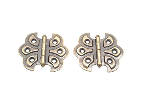 Antique Brass Ornate Hinges - Butterfly Hinge Antique Brass Finish Flush Mount Hinge 2 Hinges Comes with Matching Finish Screws