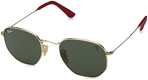 Ray-Ban Men's 0rb3548nmf0083151metal Unisex Square Sunglasses, Gold, 45 - Hexagonal Ban Ray