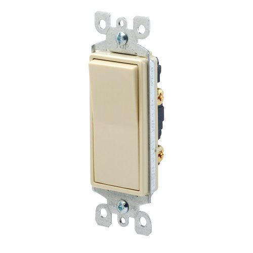 Leviton 5601-2I 15 Amp, 120/277 Volt, Decora Rocker Single-Pole AC Quiet Switch, Residential Grade, Grounding, Ivory