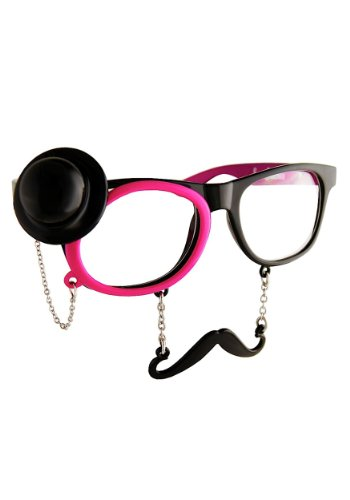 Western Sunglasses with Monocle - Mustache Sunglasses Handlebar Black
