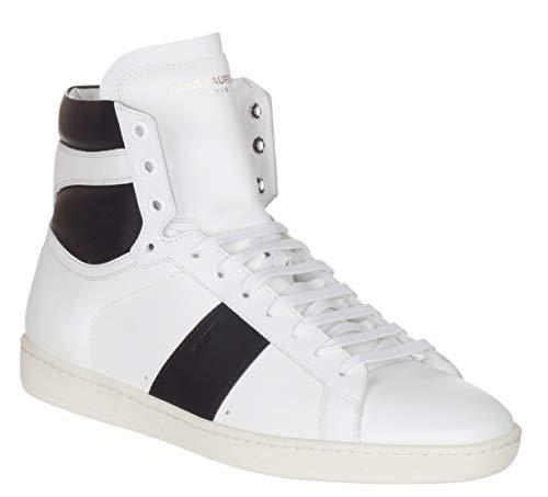 Saint Laurent Men's Black & White Leather SL/02H High Top Sneakers Shoes, White, US 7 / EU 40 (Yves St Laurent Shoes)