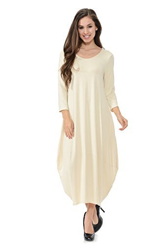 Pastel by Vivienne Women's Cocoon Midi Dress with Pocket Medium Cream