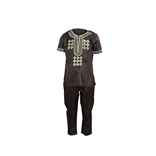 - African Dashikis Clothes, Embroidered Top and Pants set Bazin Clothing Family Matching Outfits,Kids- Brown XXL